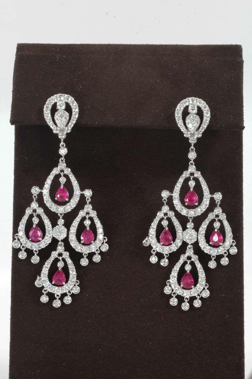 Ruby Diamond Chandelier Earring In 2020 Diamond Chandelier Earrings Bling Earrings Diamond Earing