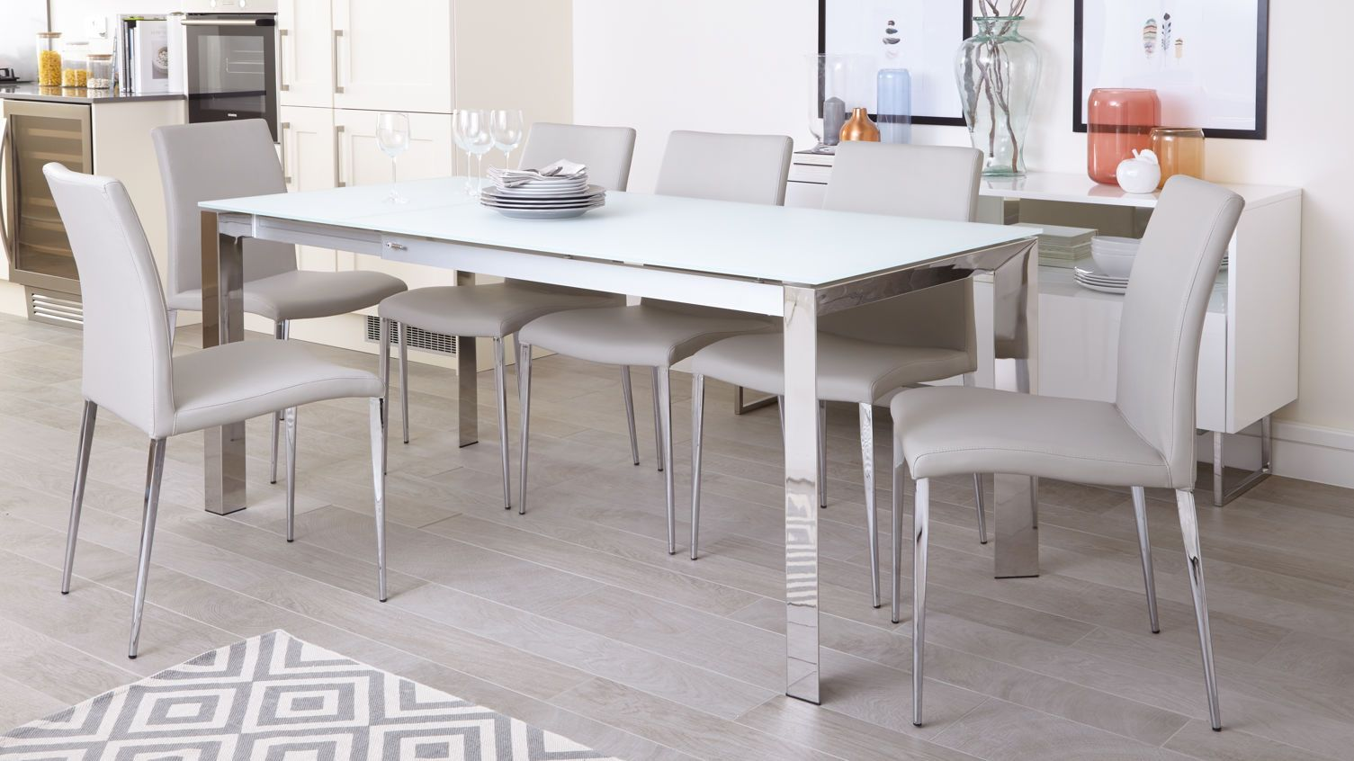 Eve White Frosted Glass And Chrome Extendable Dining Table And