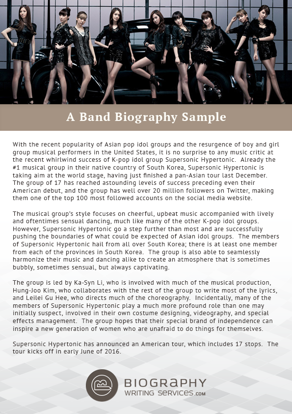 how to write a bio for a band