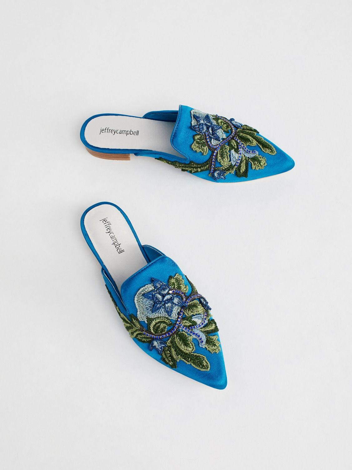 44a92ed13f8e Jeffrey Campbell Blue Velvet Combo Valencia Flat at Free People Clothing  Boutique Women s Shoes Sandals