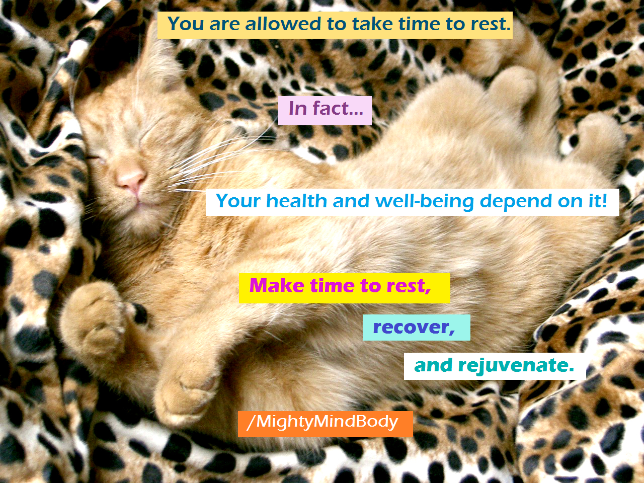 You are allowed to take time to rest. In fact, your health and well-being depend on it! Make time to rest, recover, and rejuvenate.