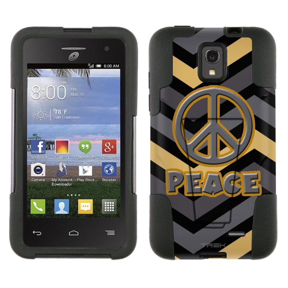 Alcatel OneTouch Pop Star Hybrid Stand Case Peace on Chevron Grey Gold Black