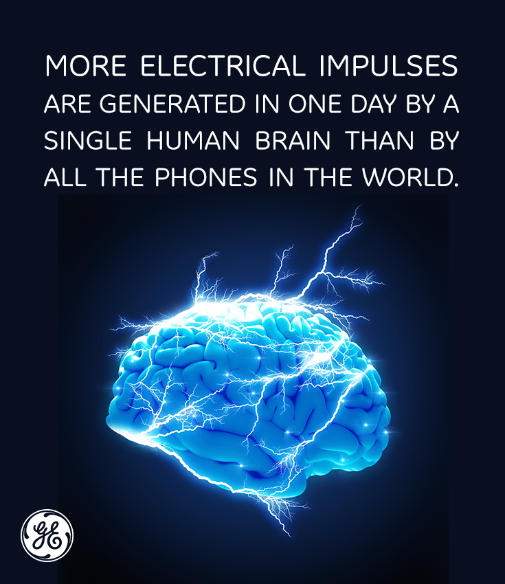 92b2b3045e4 More electrical impulses are generated in one day by a single human brain  than by all the phones in the world.