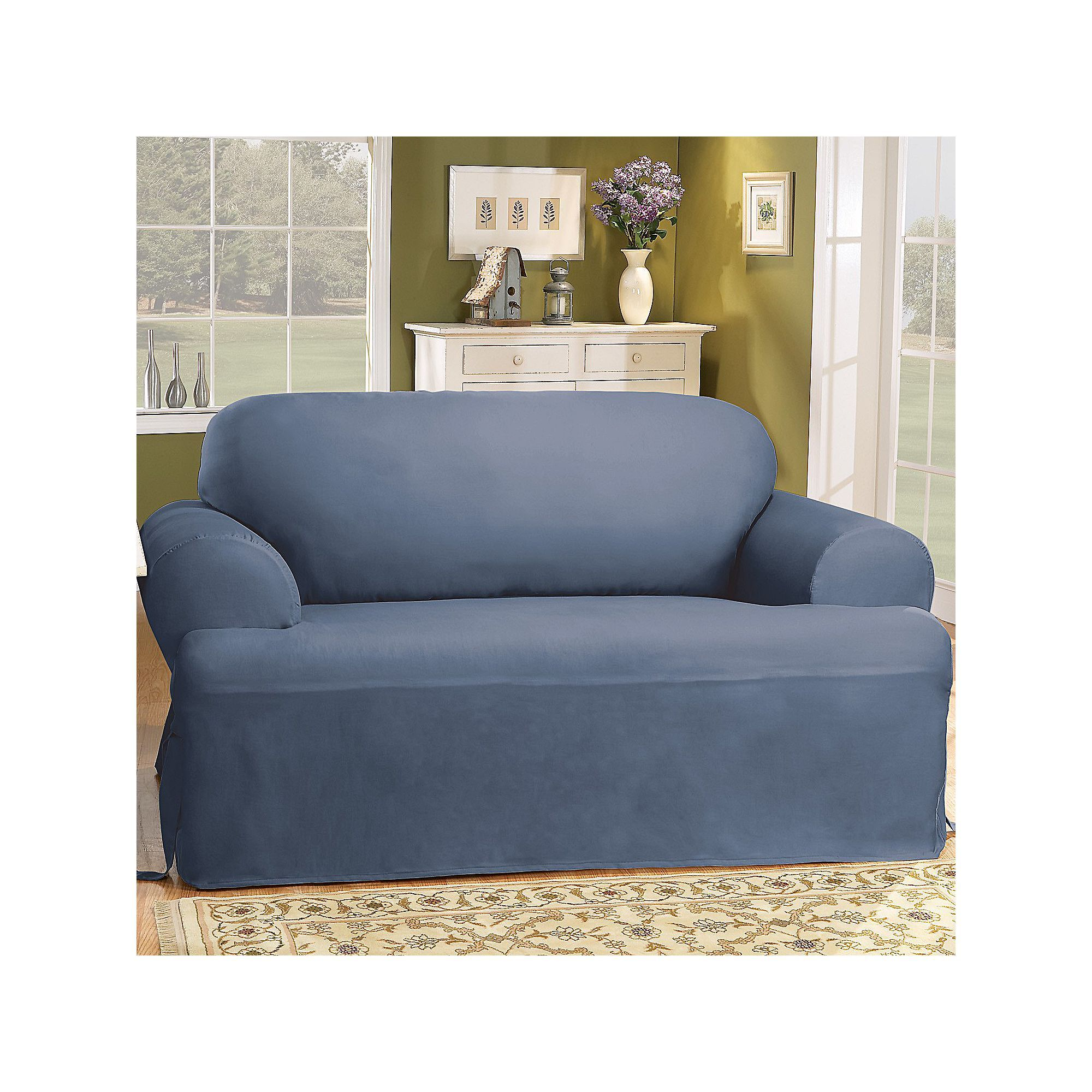 Sure Fit Solid Duck Clotht Cushion Sofa Slipcover Pinterest