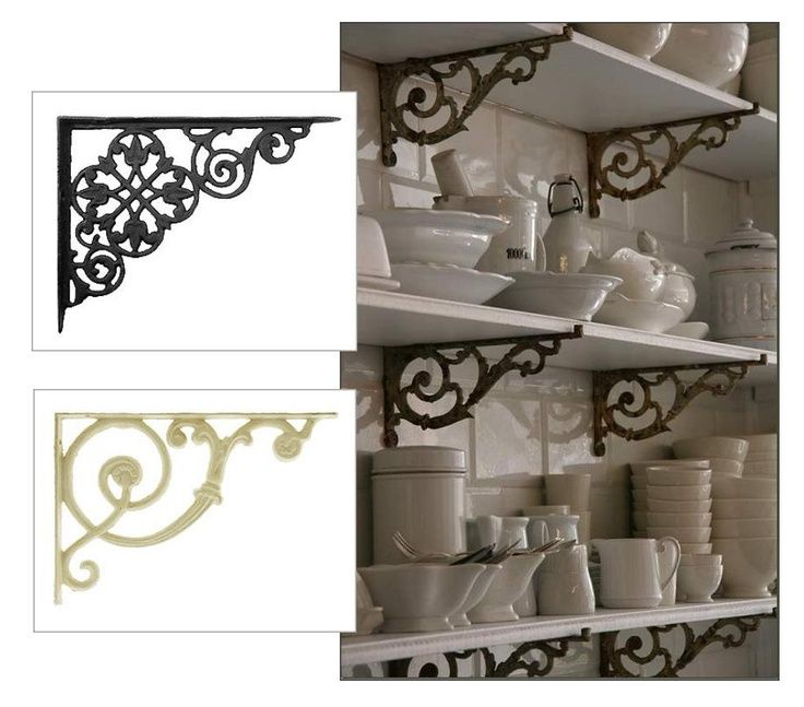 make french bistro style shelving with cast iron brackets and wood