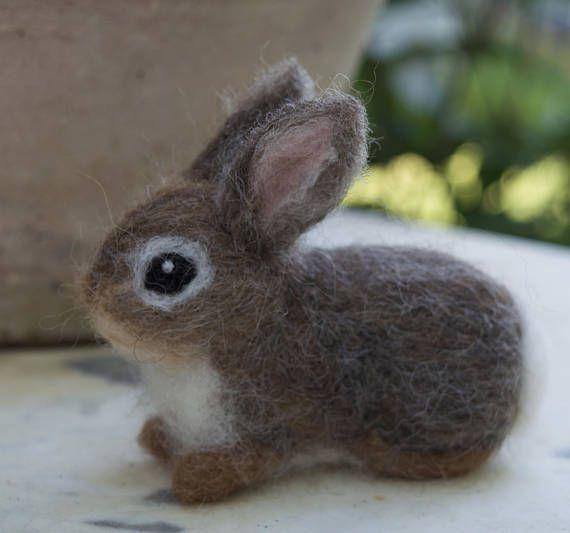 Nadel gefilzt Hase Waldkaninchen Kaninchen Baby jungen Wald Tier