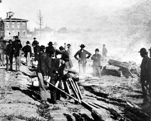 #civil #war-Gen. Sherman's Union troops a lever designed by his engineers to tear apart rails as they march through Georgia. They were destroyed beyond repair using a technique called 'Sherman's neck ties.' [library of congress] fayobserver.com] qw