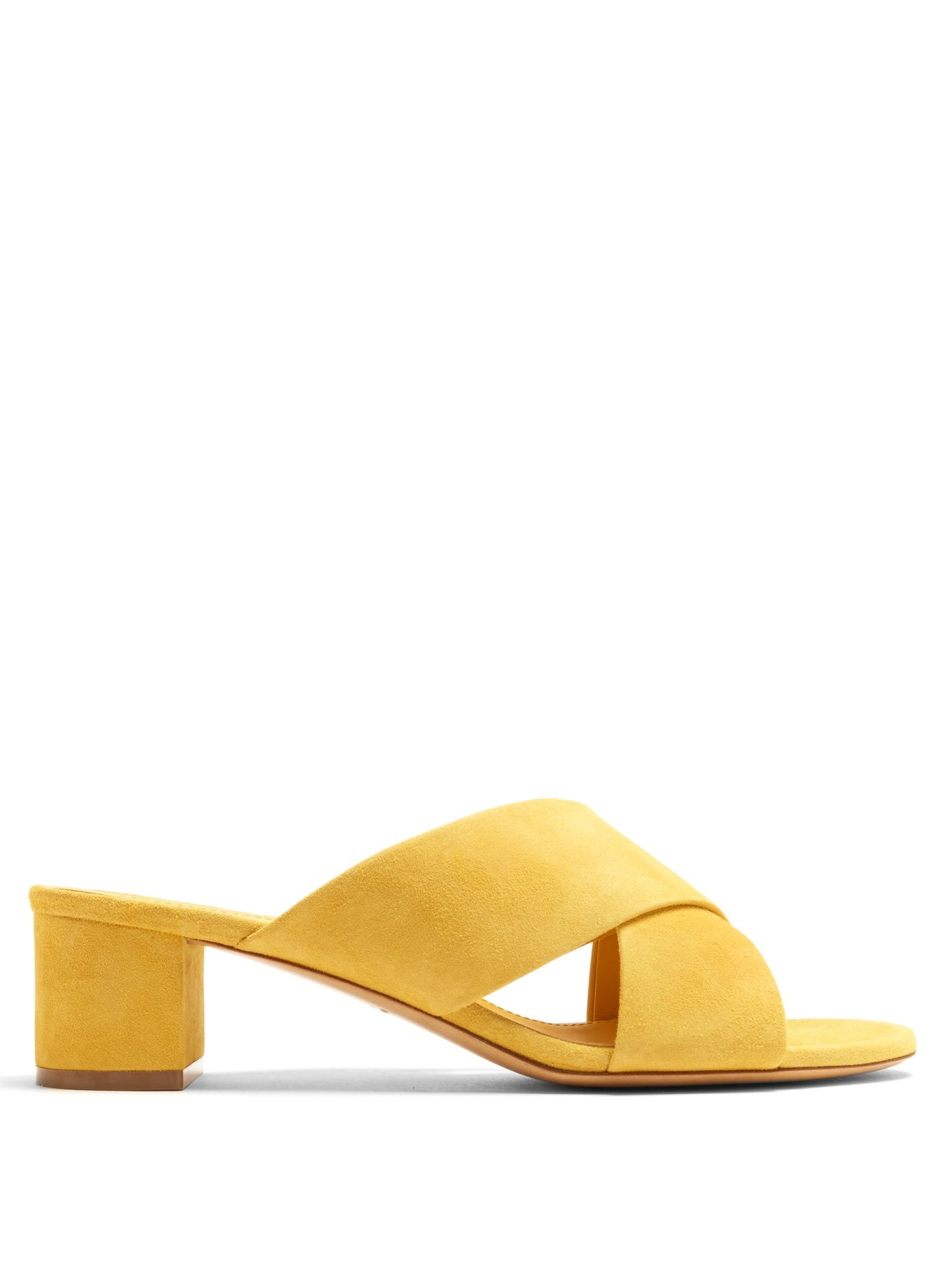 Mansur Gavriel Yellow Suede Crossover Sandals