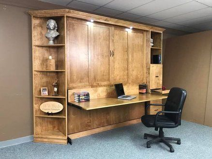 Heavy Front KING Murphy bed with Desk | traditional transitions in