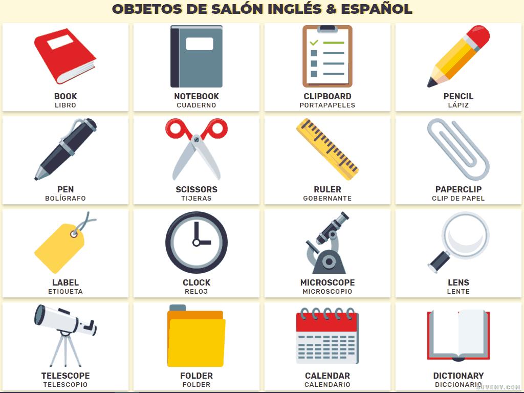 Objetos Del Aula En Ingles Y Espanol Objetos De Una