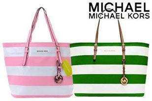 0789a102ea Pink Green MK Jet Set Stripe Travel Tote Bag Available in vibrant colors   pink