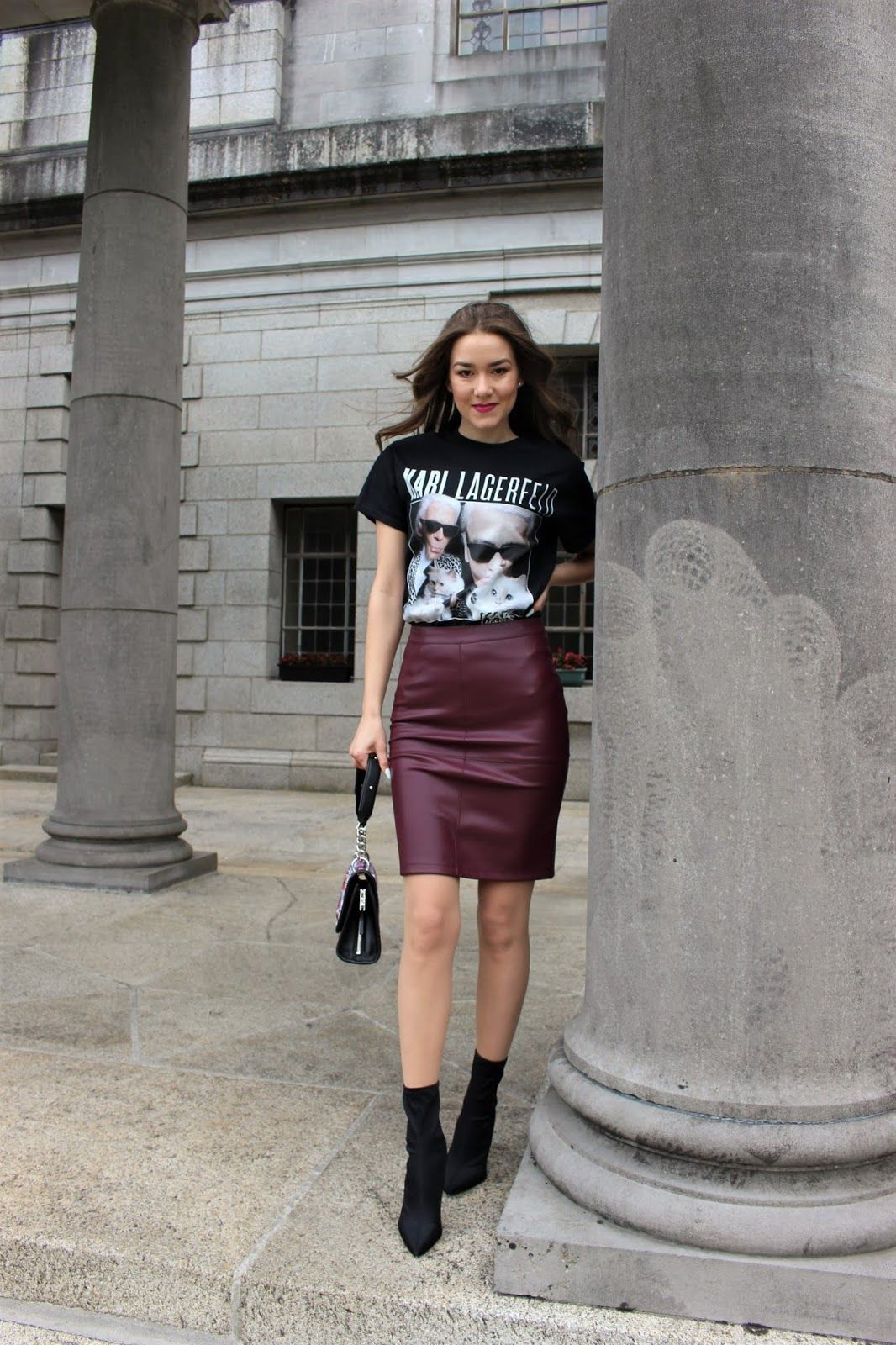 8e5f31ea44 Autumn Elegant and Edgy Outfit - Homage T-Shirt, Leather Skirt and Sock  Boots - Sinnamona