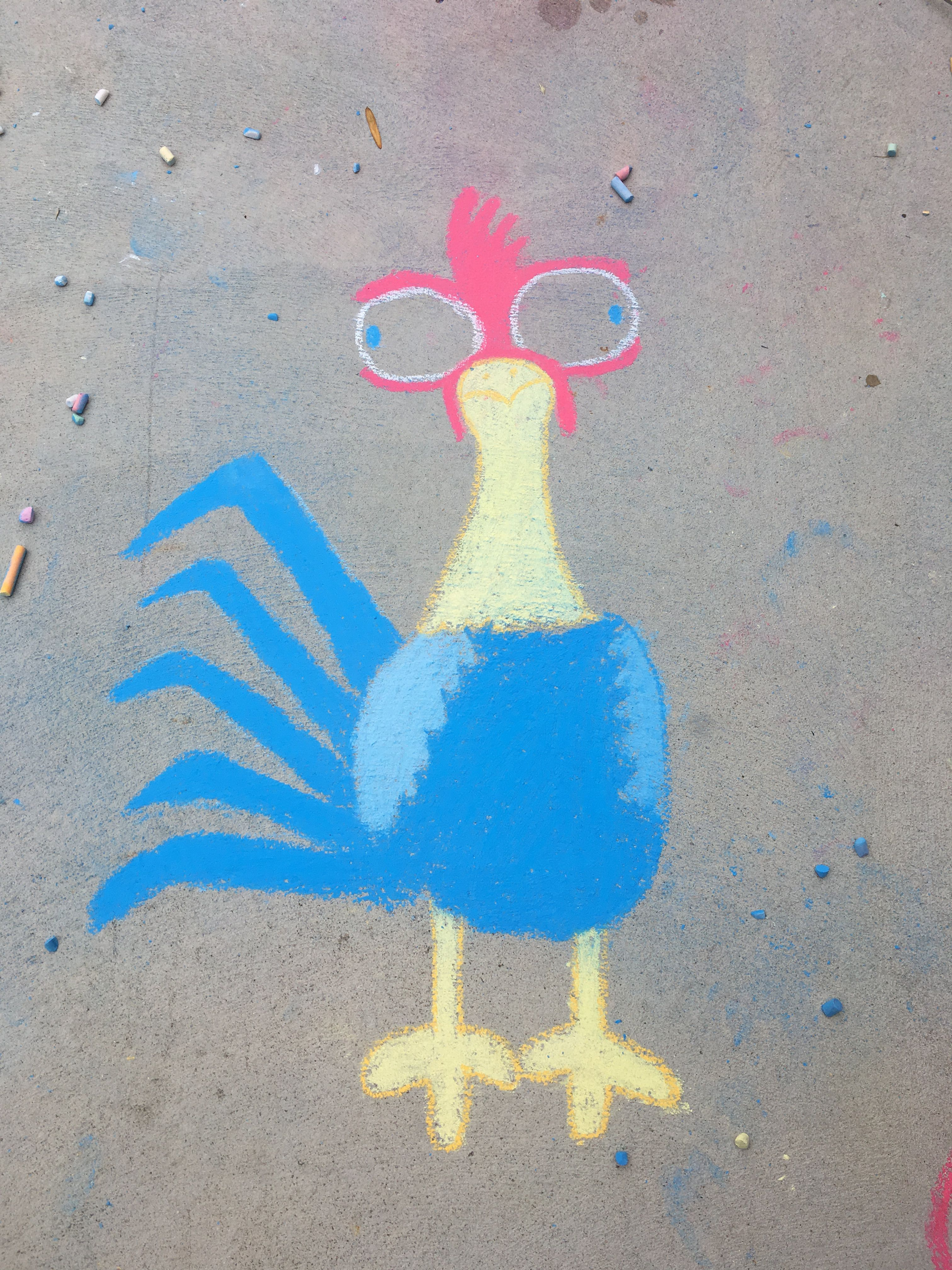 A Chalk Drawing Of The Character From Moana Heihei It Is Very