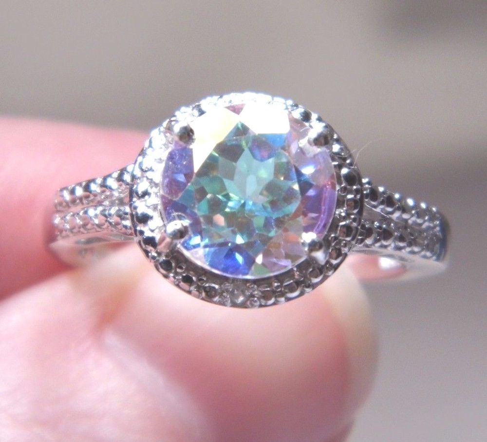 Ladies Mercury Mist Topaz & Dia Ring Size 8, Platinum O/Sterling Silver3.51Ct wt #Unbranded #SolitairewithAccents