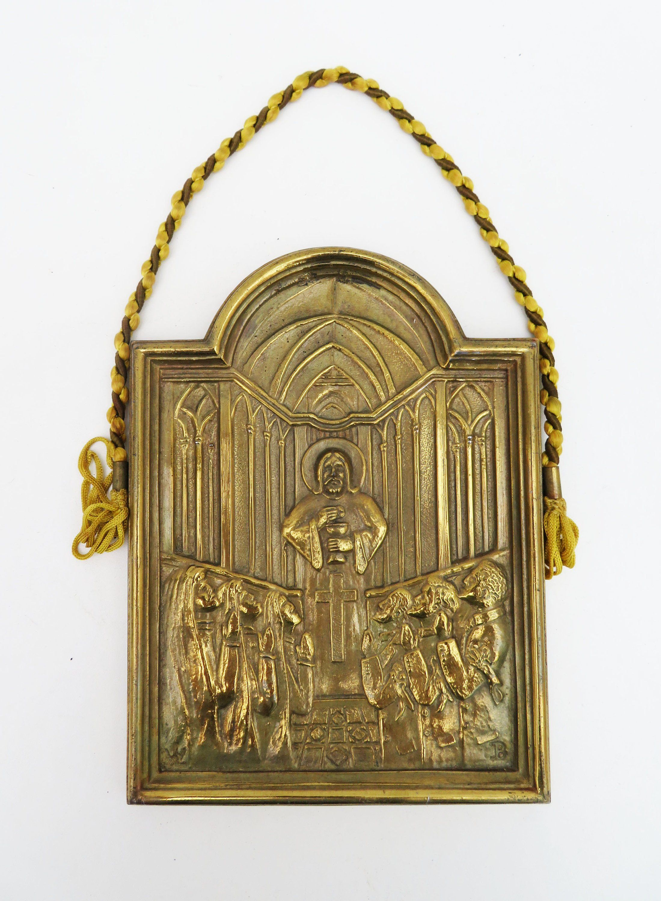 Vintage Br Wall Plaque Religious Hanging Prayer Cathedral Nuns Priests Relief Scene Catholic Religion Rope Hanger By Ebyvintage On