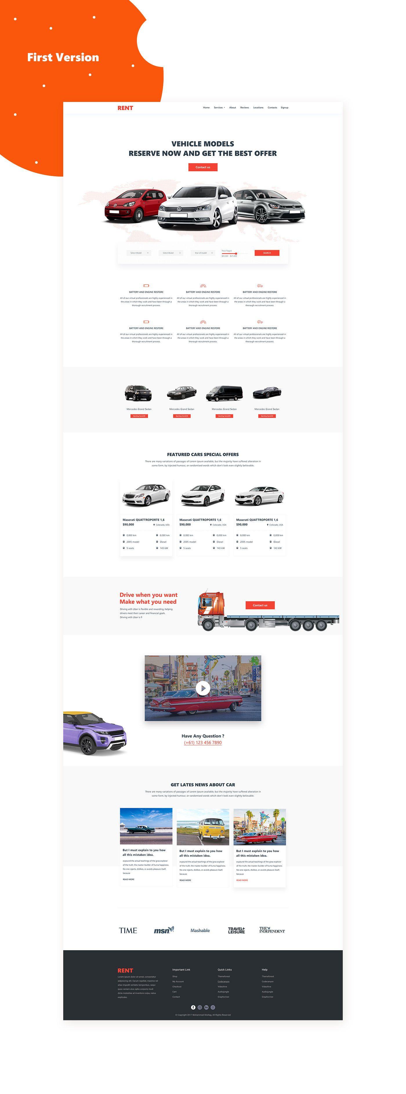 Car Landing Page On Behance Landing Page Web Development Design Car Rental Website