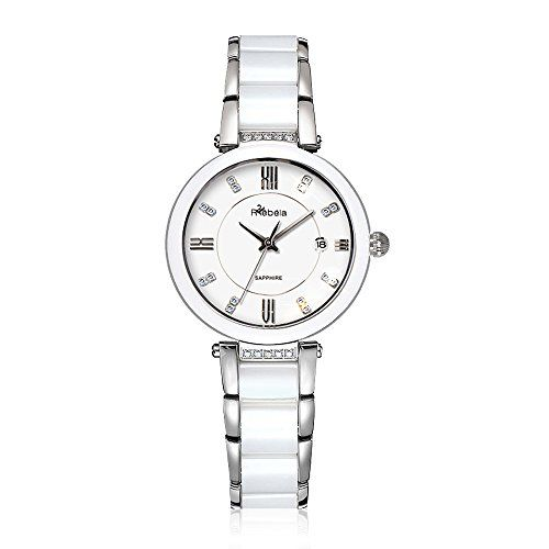 Rebela Womens Luxury Quartz Watch with White Dial and Stainless Steel Bracelet RLF5050C7A -- Click on the image for additional details.