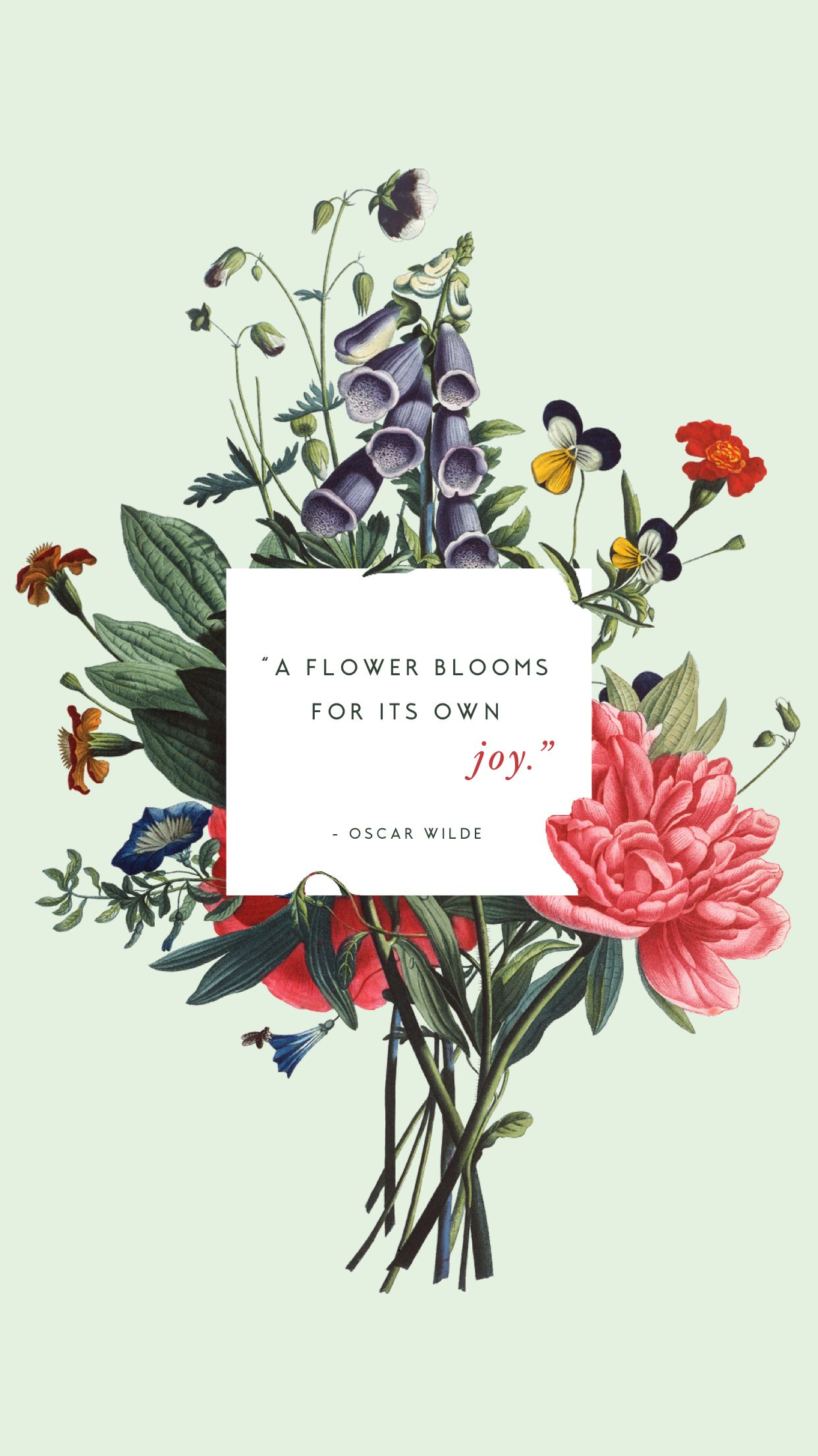 Floral bouquet Oscar Wilde quote spring phone wallpaper