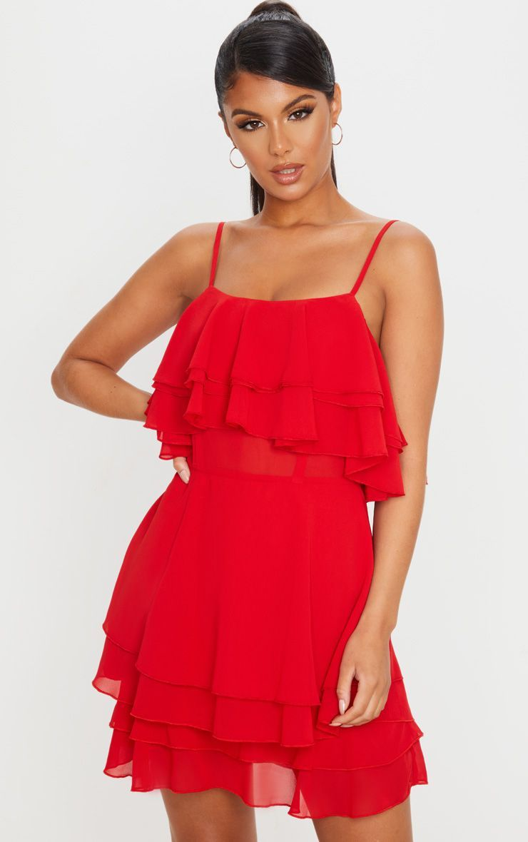 Red Strappy Ruffle Skirt Skater Dress In 2020 Dresses Fashion Clothes Women Skater Dress