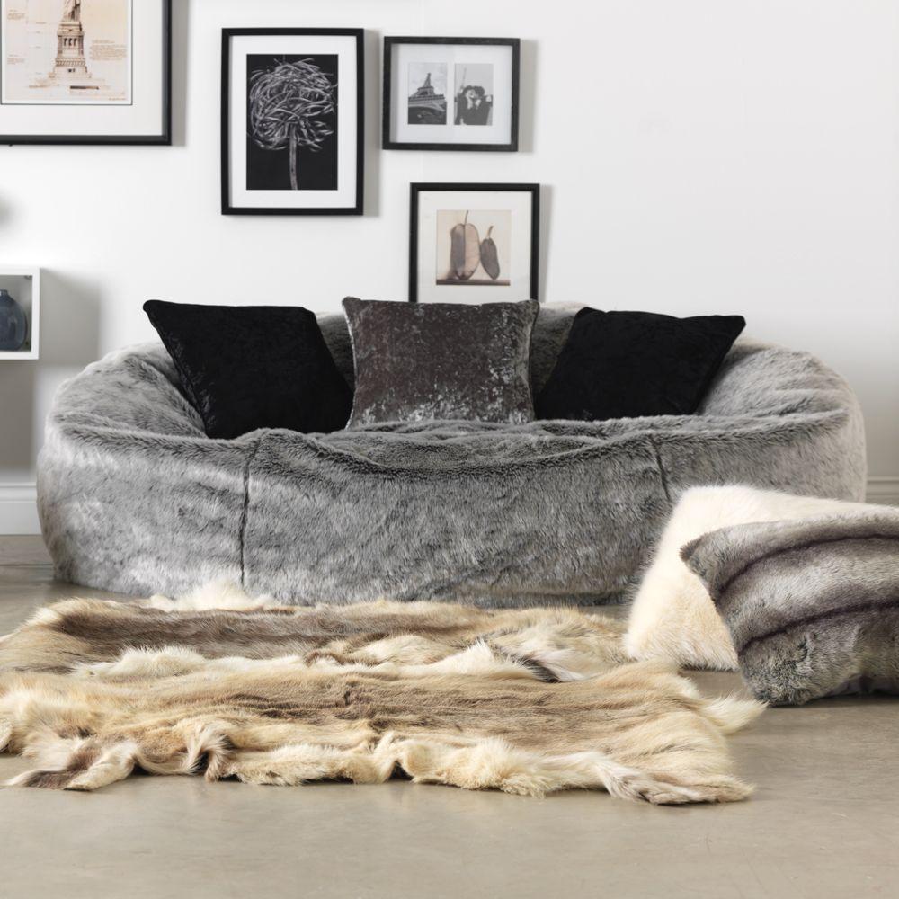 Icon Kenai Cloud Two Seater Faux Fur Bean Bag Arctic Wolf