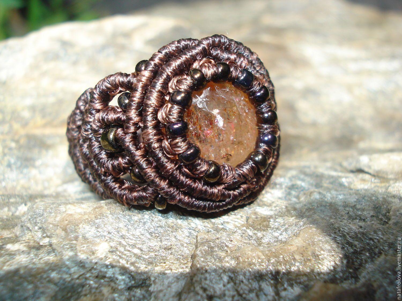 Купить Кольцо с солнечным камнем - кольцо, плетеное кольцо, золотистый, солнечный камень, оранжевый, рыжий