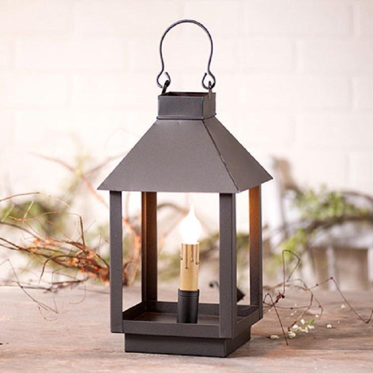 Square candle lantern accent lamp versatile tin light in smokey black finish
