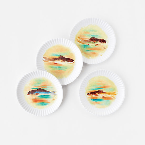 Watercolor Fish Paper Plate Look Melamine 9 Plate By One Hundred 80 Degrees Set Of 4 Watercolor Fish Floral Paper Plates Paper Plates