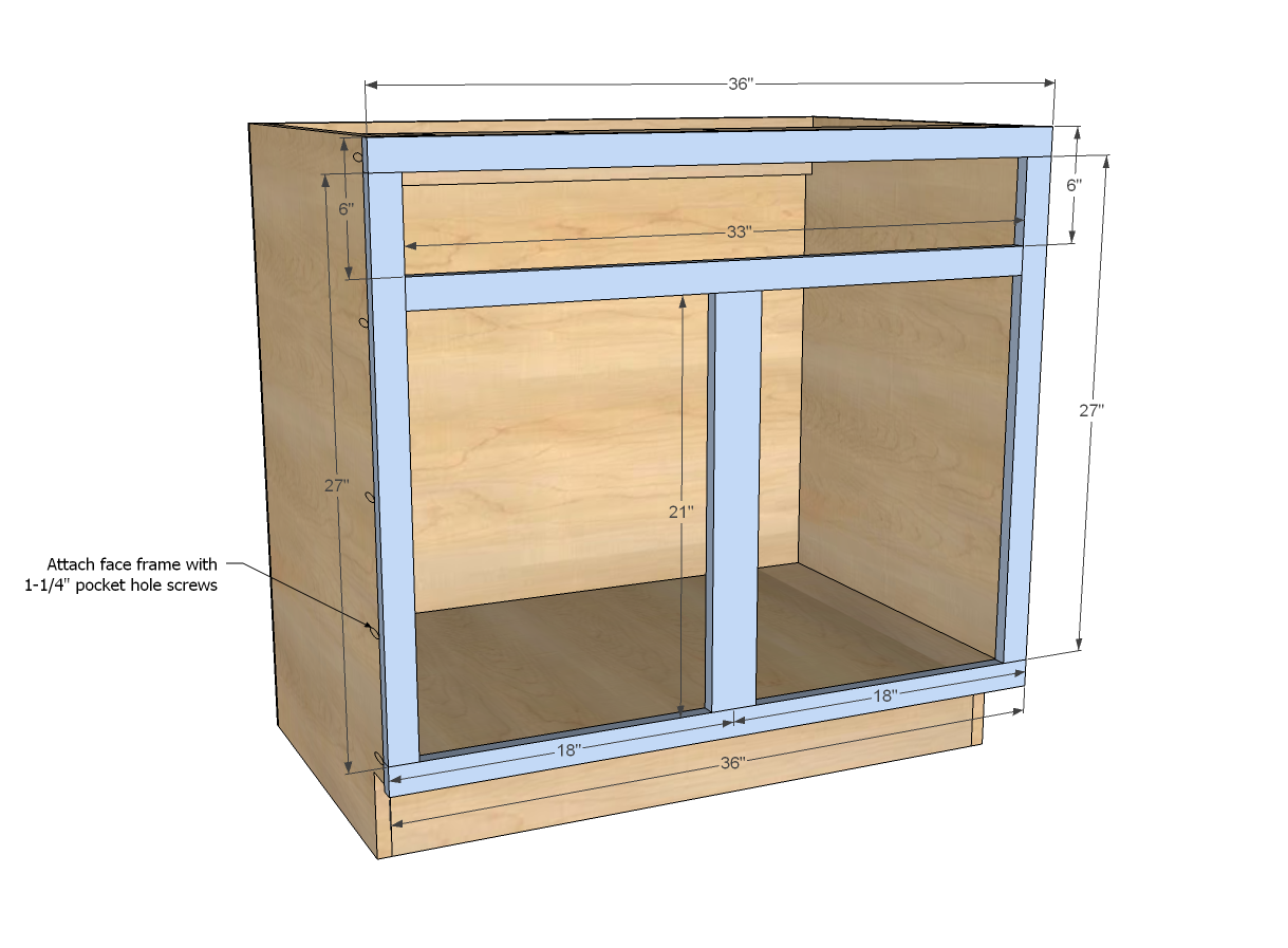 Ana white build a 36 sink base kitchen cabinet for Diy hutch plans
