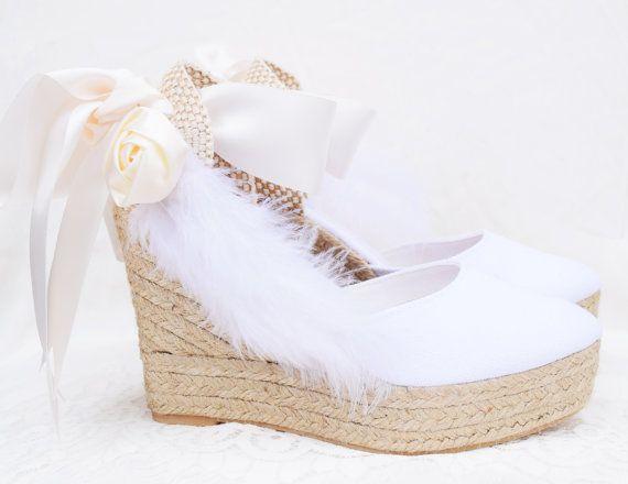 descuento más bajo 100% de alta calidad precios grandiosos Rosas y plumas novia cuña encaje hasta sandalias por ...