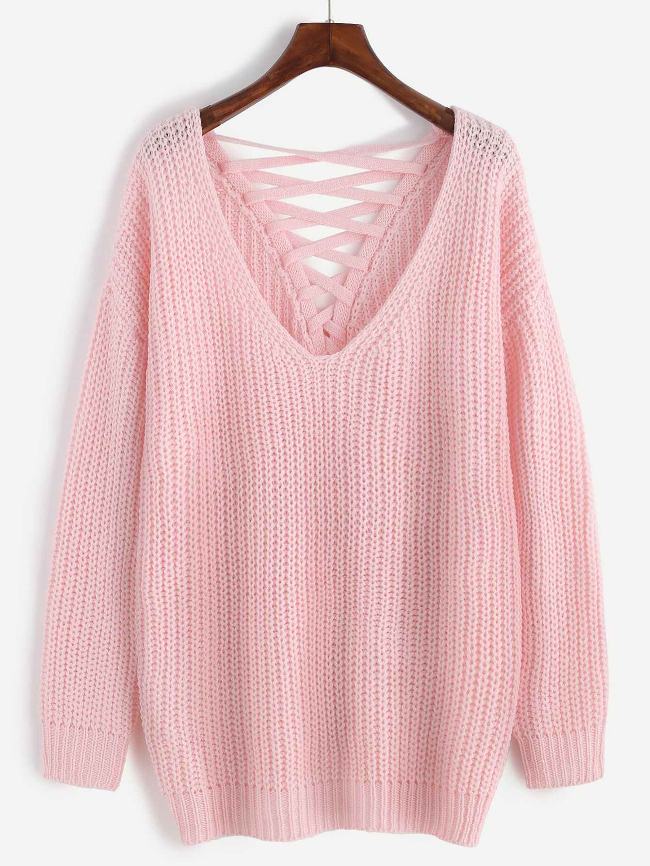 Pink Deep V Neck Lace Up Back Drop Shoulder Sweater | Shops, Lace ...