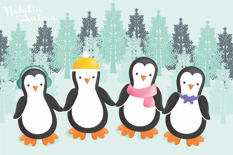 Winter Penguins By Natalia Factory On Deviantart Wallpaper Iphone Christmas Christmas Background Desktop Penguin Wallpaper