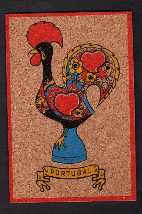 Cork Postcard Barcelos Rooster National Symbol Of Portugal