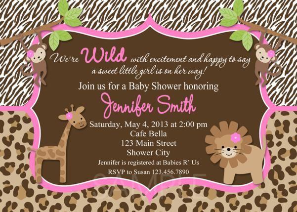 e17a419e5f27dc7e7e139c5ba0a6c012 pink leopard baby shower mum baby shower invitations, pink,Girl Jungle Baby Shower Invitations