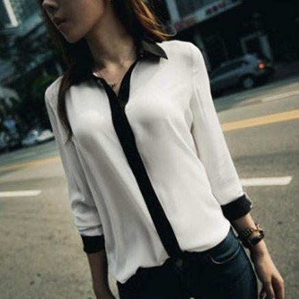 Camisa em chiffon branca e preta - Frete Grátis - LEIA DESCRIÇÃO COM PRAZO DE ENTREGA