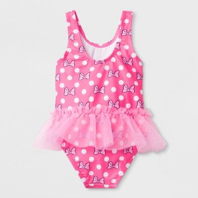 2519b534d5 Toddler Girls' Mickey Mouse & Friends Minnie Mouse One Piece Swim Suit -  2T, Pink