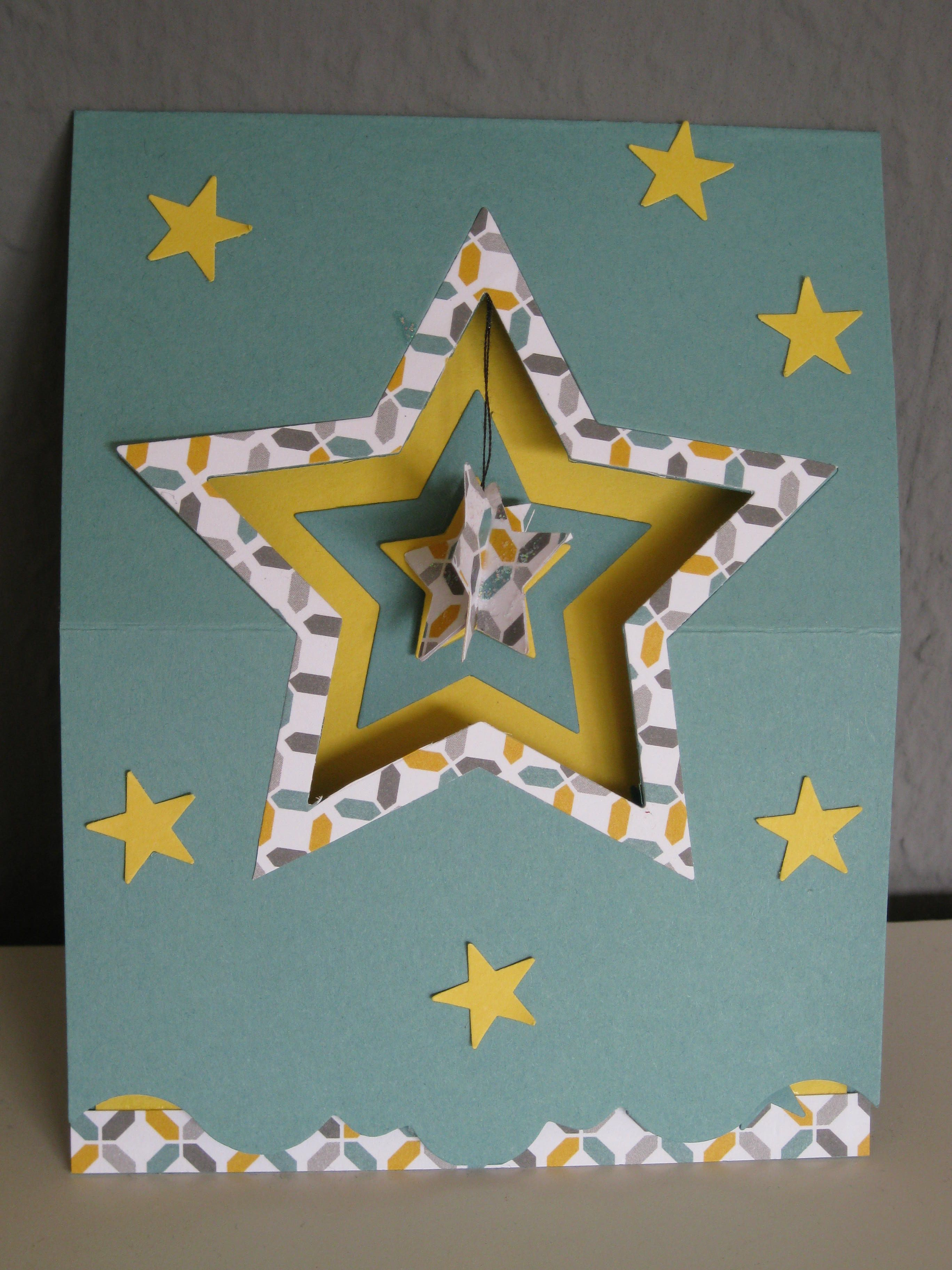 "Stampin up easel Card new framelits ""Star Kollektion""  DIY see next Picture"