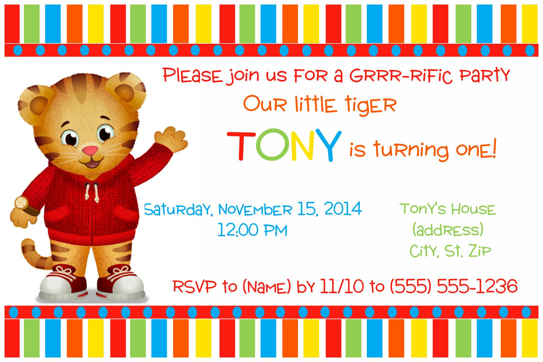 Daniel the Tiger Birthday Invitation. Click on the image twice to ...