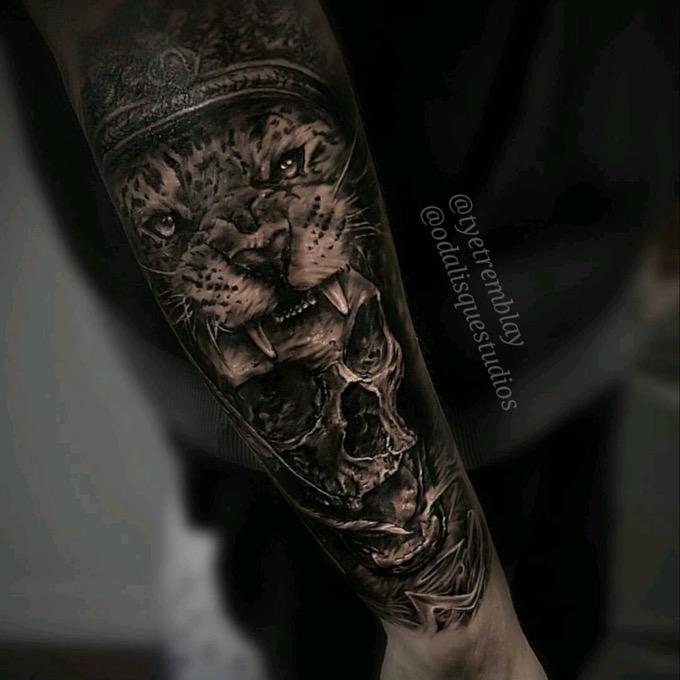 Skull Jaguar Headdress Forearm Jaguar Tattoo Tattoos Aztec Tattoo Designs