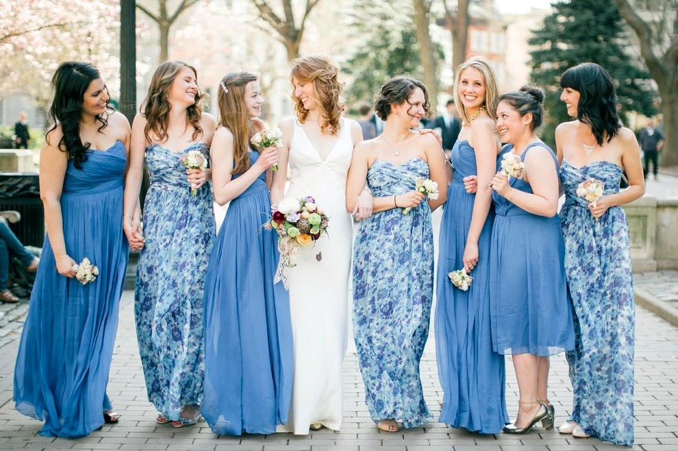 f68a70a6cd0 How to Coordinate Mismatched Bridesmaids Dresses - PureWow. These blue hues