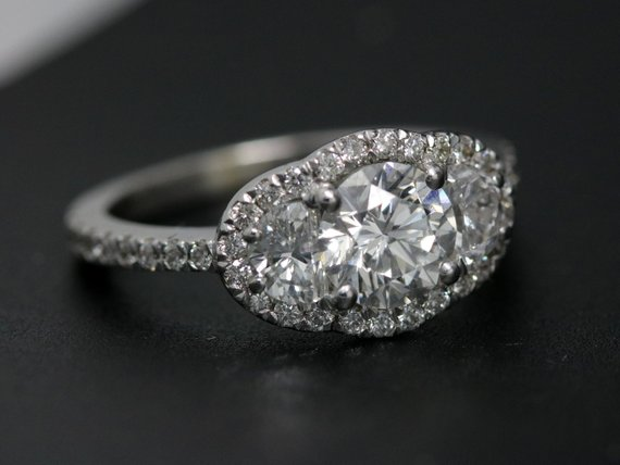 5b8c68fca153 3 stone halo diamond engagement ring-avant garde diamond ring-royal diamond  ring-unique engagement r