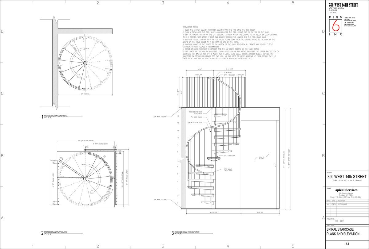 Staircase Plans Drawing Spiral Staircase For A Duplex In Chelsea Doodmix