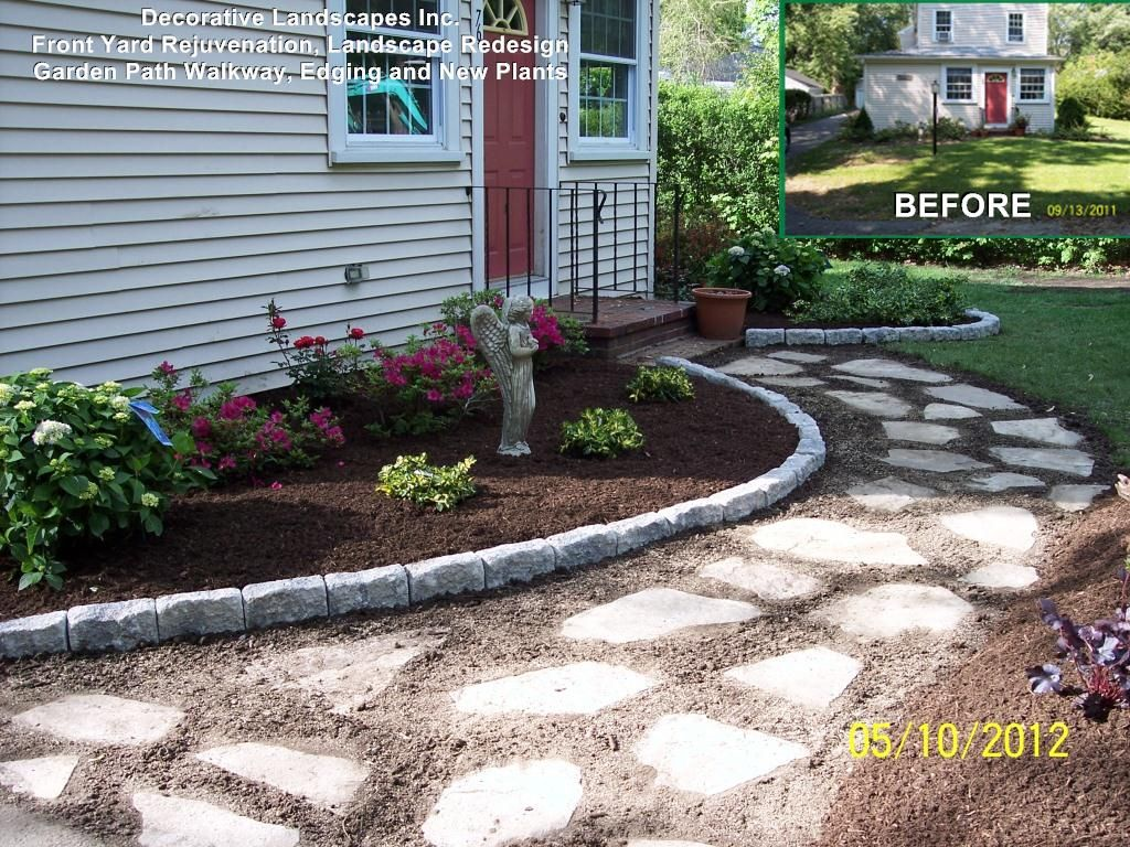 Stone Garden Path Ideas stepping stones garden path through a pond Front Yard Landscape Construction Project With Garden Path Stone Walkway Edging And Plants