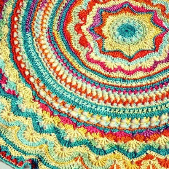 Rainbow Mandala Crochet Blanket 48 Inch Diameter Doily Style Throw ...