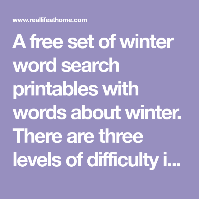 Winter Word Search Kindergarten Printable: Free Winter Word Search Printable For Kids (with Three