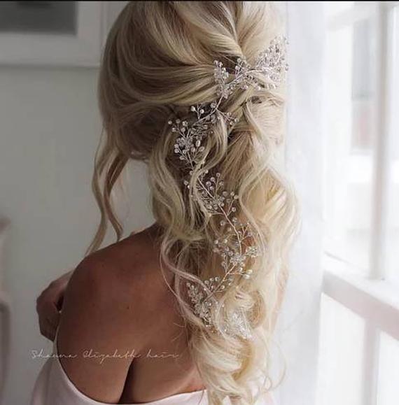 Pearl hair vine Wedding hair accessories Extra long hair vine | Etsy