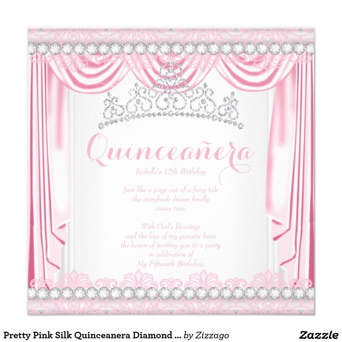 Pretty Pink Silk Quinceanera Diamond Tiara White 5.25x5.25 Square ...