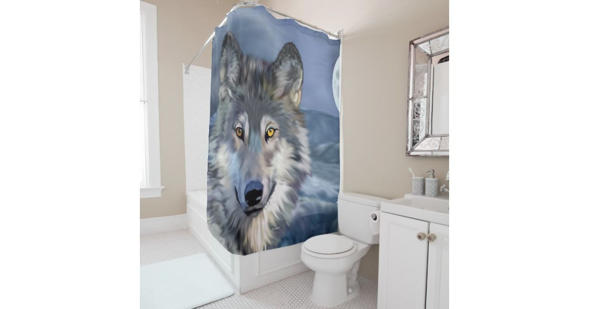 Beautiful Winter Scene Wolf Shower Curtain Zazzle Com