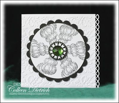 Seashell circle, made with Blockheads Paper Arts stamp.