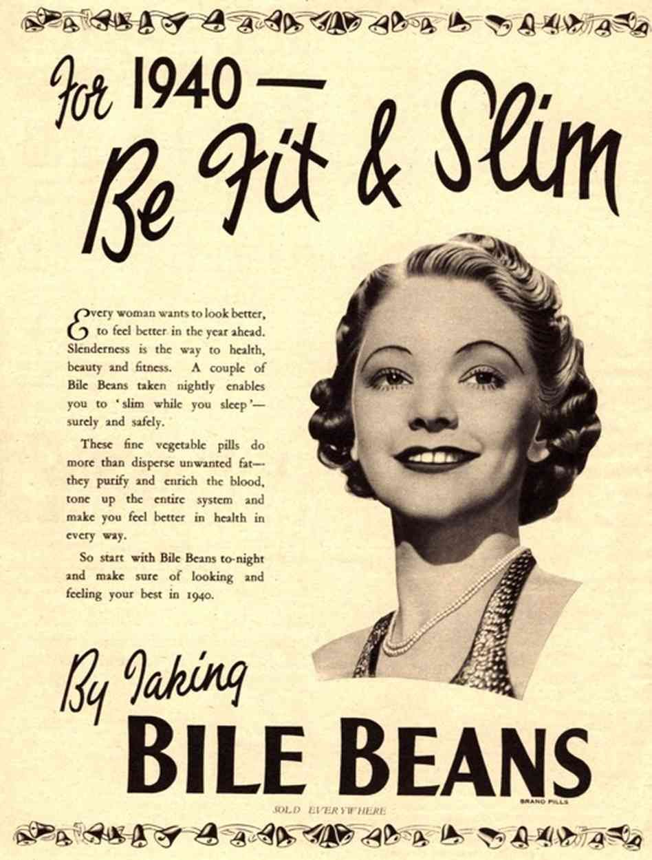 For 1940 - Be Fit & Slim ad for Bile Beans pills #vintageads #Ads ...