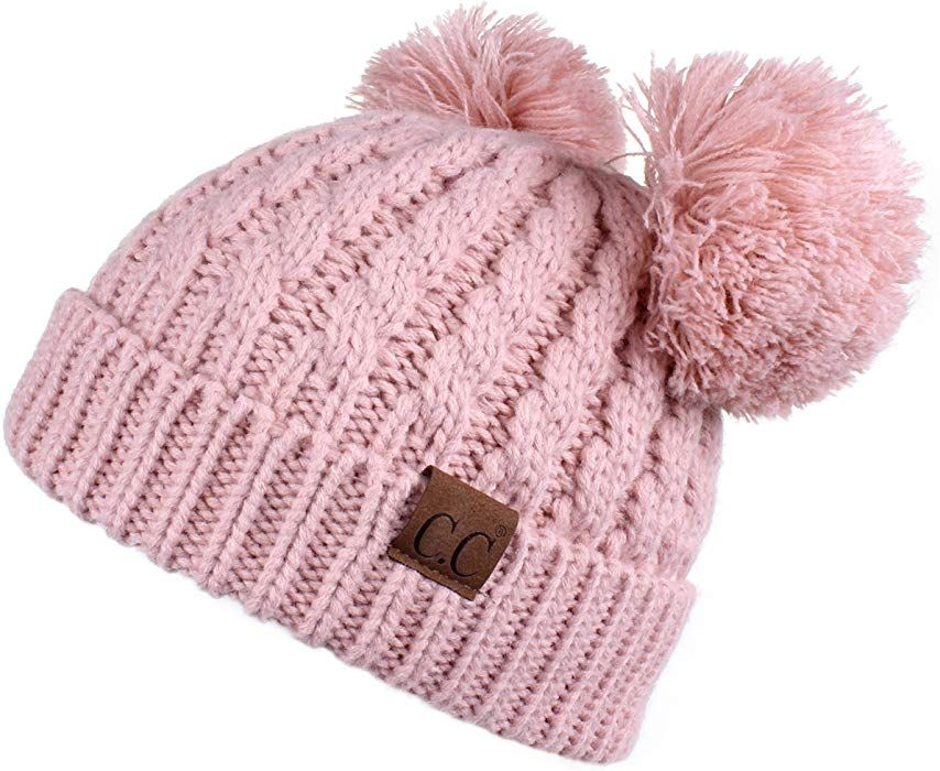 2d91d9222c268c Hatsandscarf CC Exclusives Cable Knit Double Pom Winter Beanie(HAT-60)  (Indi Pink) at Amazon Women's Clothing store: